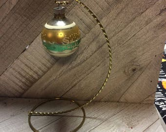 Vintage Mercury Glass Shiny Brite Christmas Ornaments 1950's Gold and Green Stencil Church Silent Night