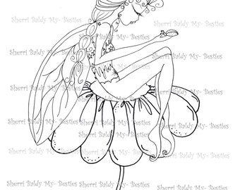 INSTANT DOWNLOAD Digital Digi Stamps Big Eye Big Head Dolls Digi Little Lady Bug Fairy By Sherri Baldy