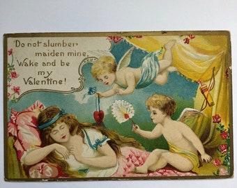 Vintage Valentine Postcard 1900's Do Not Slumber Maiden Mine Wake and be my Valentine Cupids roses sleeping maiden Valentine Ephemera