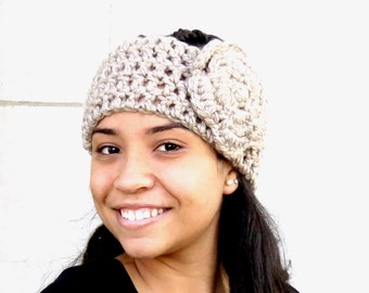 Crochet Headband, Flower Headband, Ear Warmer With Flower, Adult, Crochet, Taupe, Women,Teen, Chunky,,
