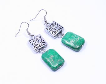 Green Statement Earrings - Green Drops - Chunky Green Earrings - Green Stone Earrings - Green Jasper Earrings - Big Skies Jewellery