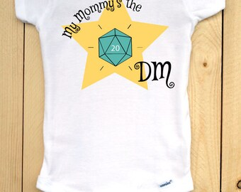 Dungeons and Dragons infant onesie with teal d20/ My Mommy's the DM/ RPG baby outfit/ baby shower gift for gamers/ role playing games