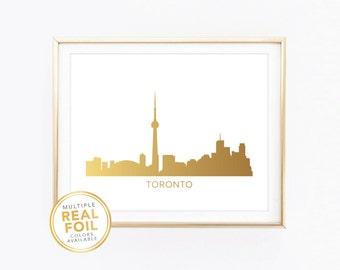 Toronto Skyline, Ontario, Canada, Real Foil Print, Silver foil, Gold foil, Home Decor, Wall Art, Gallery Art, Modern Art.