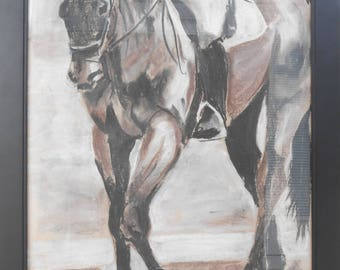 "Original Horse Art/Framed Charcoal/Pastel Drawing/Artwork 18""x24""/Black Frame/""Between Arenas"" by Shay Roberts"