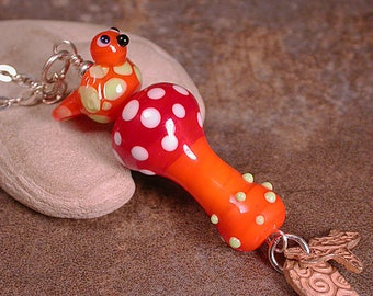 Whimsical Lampwork Jewelry, Lampwork Glass Necklace, Lampwork Bird and Mushroom, Bronze Dangles, Unique Mothers Day Gift