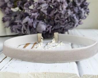 Light gray velvet choker necklace, Thin simple adjustable choker for women, Classic jewelry gift for her