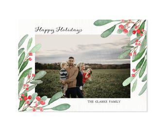 Modern Holly Berry Holiday Photo Card, Christmas Cards, DIY Printable, Printed Cards, Christmas Photo Cards, Happy Holidays