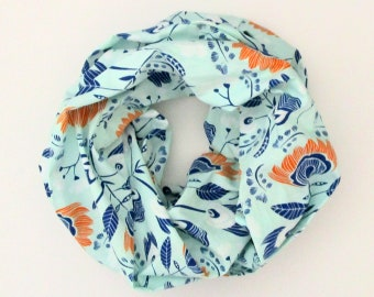 Infinity Scarf - Aqua Orange Blue Flowers Floral - Cotton Fashion Tube Scarf