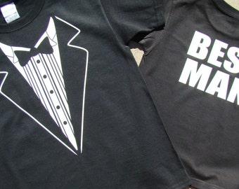 Wedding Tuxedo BEST MAN, Black Tuxedo Tee shirt - Wedding - Mens size Tux shirt- Best Man -2X,3X,4XL- Rehearsal Dinner Shirt - super cute