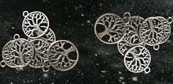 Set of 12 Celtic TREE OF LIFE Charms - Antique Silver
