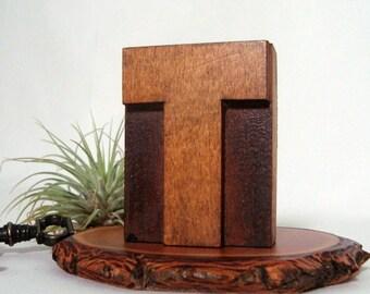 Letterpress T Wood Type Vintage Freestanding Printer Block Letter T