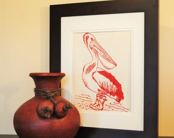 Wall Picture Art Print - Cotton Canvas - Screen Printed - Red Wall Hanging Print of a Pelican - Cute House Warming Gift