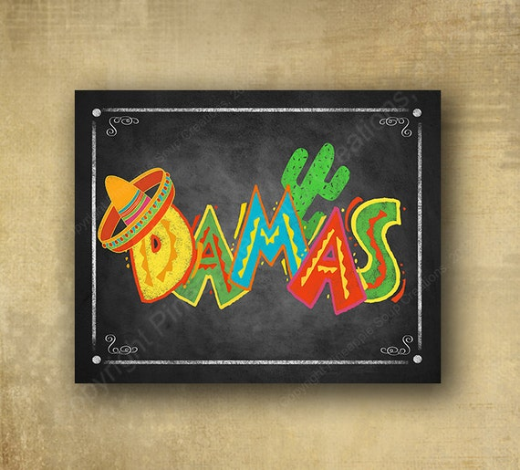 Printed Fiesta Damas Ladies Bathroom sign in chalkboard style - Birthday, wedding or special event signage Fiesta Signage