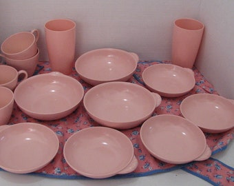 Mid Century Pink Melamine dishes made in Canada by MELMAC