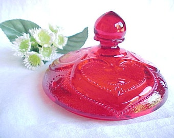 L. G. Wright Glass Ruby Red Sweetheart Sugar Bowl Lid, 1960s Serving Glassware With Heart Design, Vintage Collectible Glass
