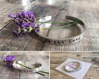 Cuff Bracelet 'Cast your cares on the Lord' Psalm 55:22 Bible Verse Bracelet
