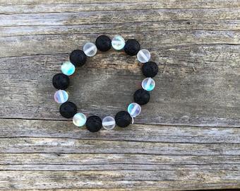 Moonstone and Lava Rock Elastic Bracelet