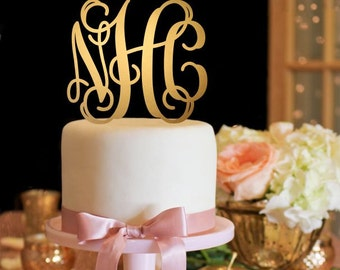 Customized Wedding Cake Topper, Personalized Cake Topper for Wedding, Custom Personalized Wedding Cake Topper, Vine Monogram Cake Topper