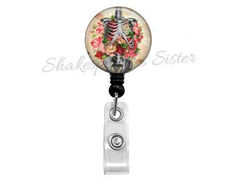 Human Anatomy Badge Reel - Retractable Badge Holder - Skeleton and Flowers - Nurse Badge Reel - Medical ID Holder