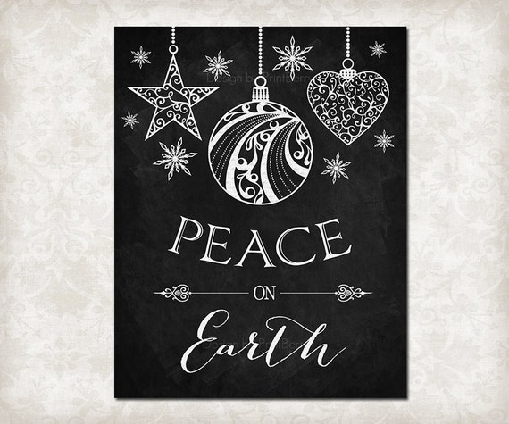 Merry Christmas Quote Wall Art Decal: Items Similar To Printable Decor Peace On Earth Printable