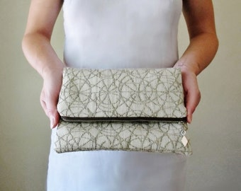 NEUTRAL Foldover Clutch - Abstract Stone, Straw and Gold Embroidered Fold Over Bag - Geometric Patterns - Fully Lined with Organic Linen