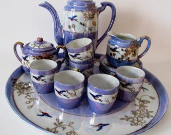 Takito Tea Set Eighteen Pieces, Lustreware, Lusterware, Handpainted Bluebird Pattern, Nippon, Made in Japan