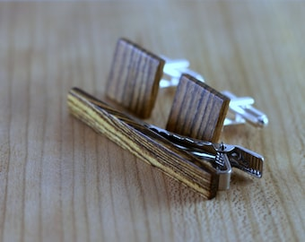 Wood Cuff links and Wood Tie Clip set - Bocote - Groomsmen gift - 5th wedding anniversary present - Square Cuff Link - Gift for Him
