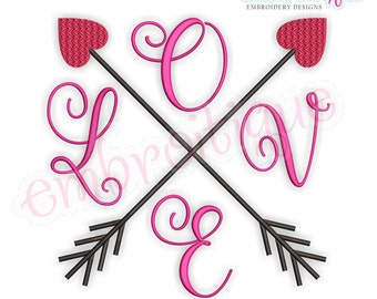 Love Crossed Arrows- Love Valentine Wedding Marriage Husband Wife  -  Instant Download Machine Embroidery Design