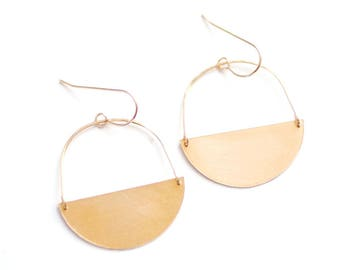 Half Moon Earrings   Half Circle Earrings   Minimalist Earrings   Geometric Earrings   Gold Drop Earrings   Brass Earrings   Sterling Silver