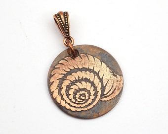 Etched copper shell pendant, small round flat antiqued metal spiral, optional necklace, 25mm