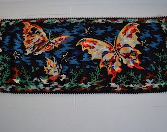 rug canvas butterflies, rug, handmade in France, breakfast, upcycling, bath, bedroom, bathroom, bedroom, butterflies