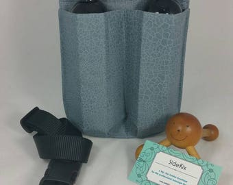 Massage therapy double 8oz bottle hip holster, Crackled Grey, black belt