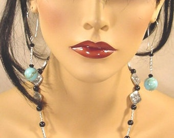 Native American Handcrafted Turquoise Howlite and Black and Silver Necklace Earring Set