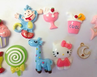 11 Assorted Kawaii Flatback Cabochon for Phone Case Hair Bow Center Decoden Jewelry Decoration - 37N