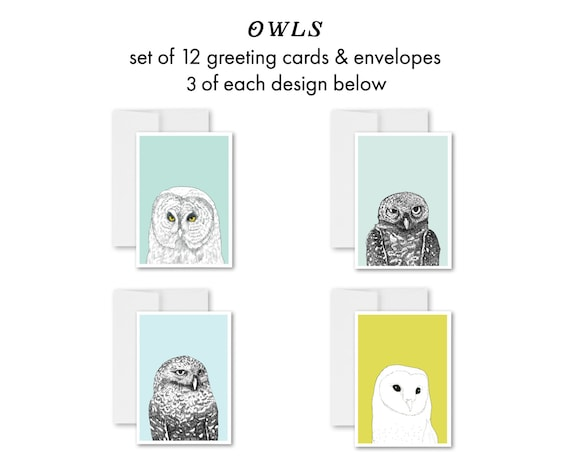 """Owls"" - greeting card set"