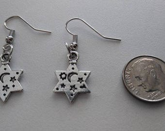 Sun, Moon and Stars Tibetan Silver Earrings or Corded Necklace