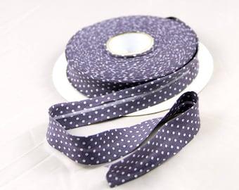 50 cm bias fabric liberty purple polka dots ruffled white
