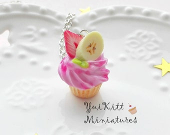 Sweet Cupcake Pendant/ Cupcake Necklace/ Banana-Strawberry Cupcake Charm/ Strawberry Pink Cupcake/ Miniature Cupcake/ Food Necklace