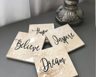 Natural Stone Coasters, Etched Stone, Travertine Tile, Beverage Coasters, Coaster Set, Christmas Gift, Inspirational Words, Birthday Gift