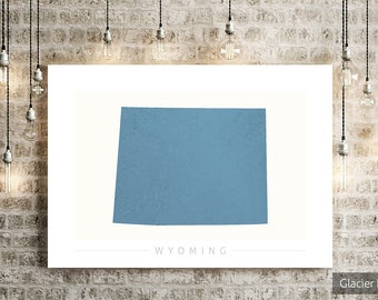 Wyoming Map - State Map of Wyoming - Art Print Watercolor Illustration Wall Art Home Decor Gift - COLOUR PRINTS