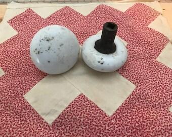 porcelain door knobs antique pair white handles