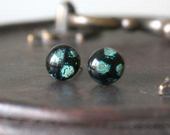 Midnight Snowfall Earring Posts - Green Black Dichroic Glass Stud Earrings, Hypoallergenic Surgical Steel Jewellery Handmade by Ikuri