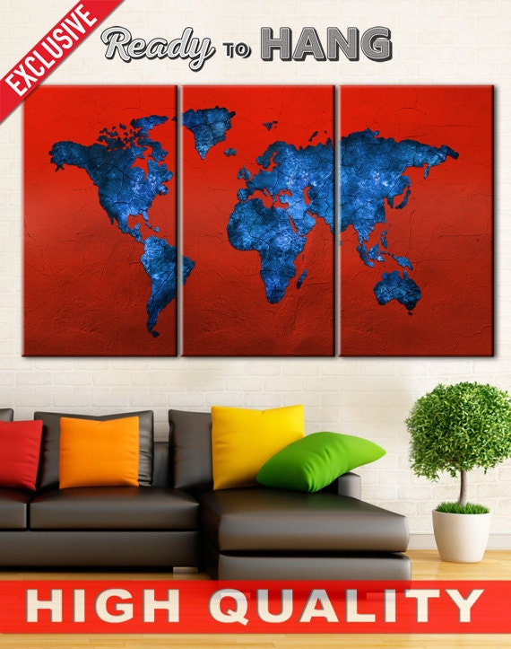 Canvas art world map red world map world map canvas large like this item gumiabroncs Gallery