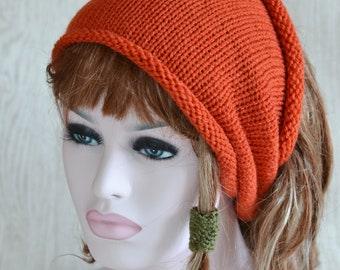 Cinnamon Unisex Knitted Dreads Tube Hat Small Medium Large,  Dread Wrap Sock, Afro Hat, Grey Stone