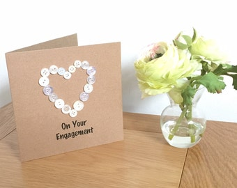 Engagement card, Handmade card, Button heart, Greetings card