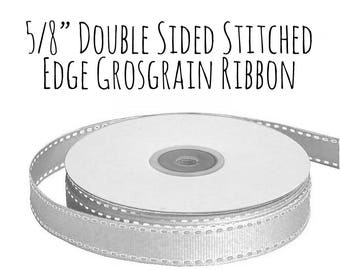 "Stitched Edge Silver Ribbon, Silver Grosgrain Ribbon, 5/8"" Ribbon, White Edge Silver Ribbon, Gift Ribbon Wrap, Wedding Supply, Hair Ribbon"