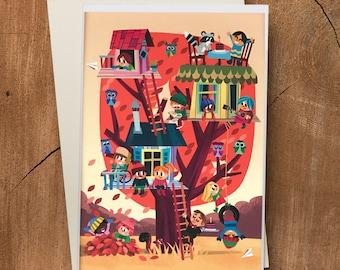Treehouse Blank Card, Canadian Card, Childrens Card