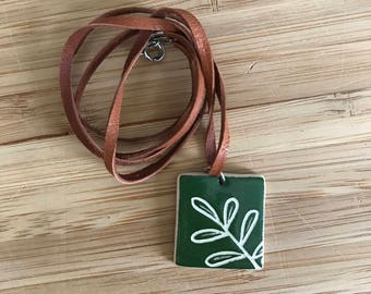 Handmade, Ceramic green leaf necklace