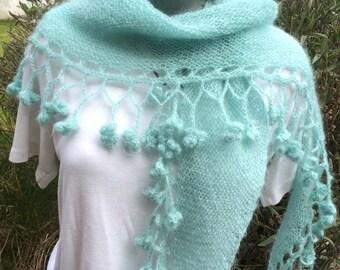 """Hand Knitted scarf, Shawl, Wrap, Shawlette scarf """"Dicentra Glacier"""""""