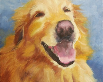 Custom Pet Portrait, 6x6 Original Oil Painting on Panel, Dog Portrait, Commission, Unframed, Fletcher Laughing by Alice Leggett